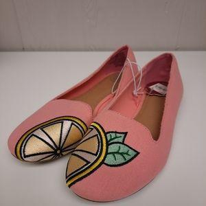 NWT Kohls SO Pink Lemon Ballet Flat Shoes Size 8.5